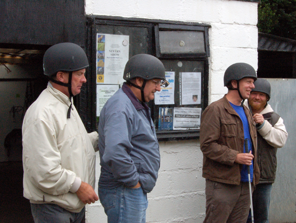 Ken and John after having their horse riding hats fitted